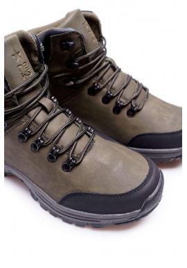 Pánska oteplená trekingová obuv v kaki farbe