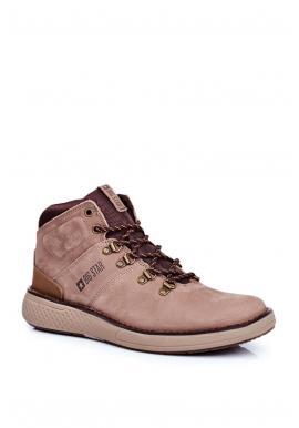 Pánske kožené trekingové topánky Big Star v hnedej farbe