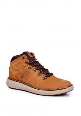 Svetlohnedé kožené trekingové topánky Big Star pre pánov