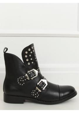 Dámske štýlové topánky s vybíjaním v čiernej farbe