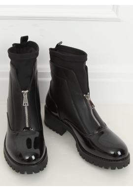 Lakované dámske topánky čiernej farby so strieborným zipsom