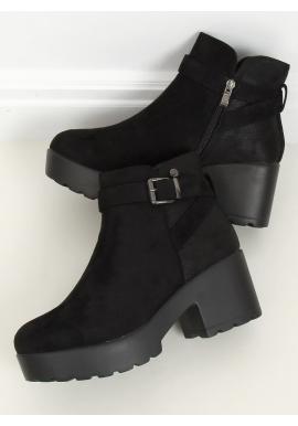 Čierne semišové topánky s vysokou podrážkou pre dámy
