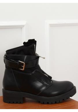Dámske módne topánky vo vojenskom štýle v čiernej farbe