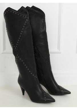 Čierne lícové čižmy na podpätku pre dámy