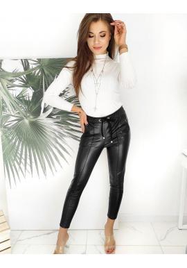 Dámske voskované nohavice s viazaním v páse v čiernej farbe