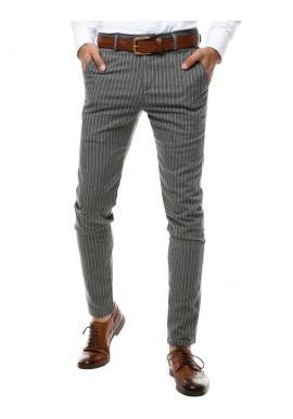Pánske pásikavé nohavice v tmavosivej farbe