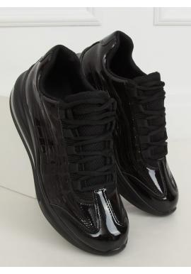Lakované dámske tenisky čiernej farby s vysokou podrážkou