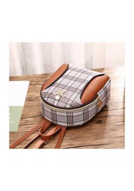 Mini dámsky ruksak hnedej farby s károvaným vzorom