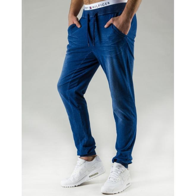 Modré pánske tepláky v džínovom vzhľade