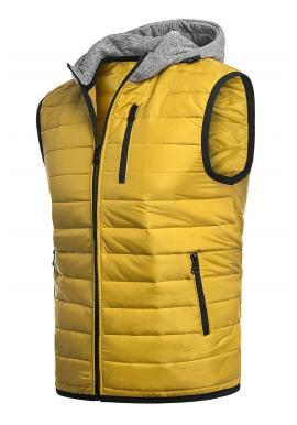 Pánska oteplená vesta s kapucňou v žltej farbe