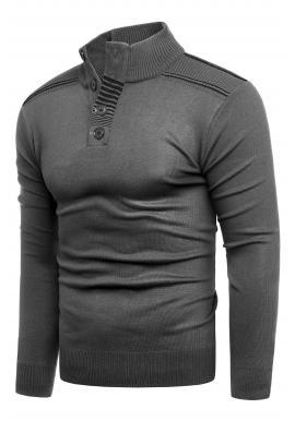 Módny pánsky sveter sivej farby so zapínaným výstrihom
