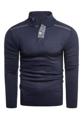 Tmavomodrý módny sveter so zapínaným výstrihom pre pánov