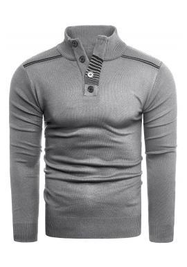 Pánsky módny sveter so zapínaným výstrihom v sivej farbe