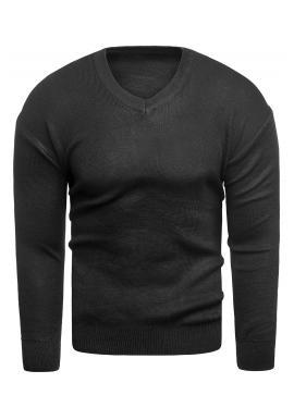 Klasický pánsky sveter čiernej farby s výstrihom do V