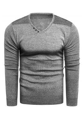Pánsky módny sveter s výstrihom do V v sivej farbe