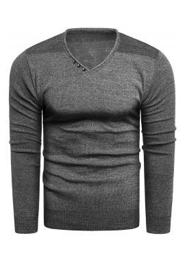 Módny pánsky sveter tmavosivej farby s výstrihom do V