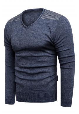 Pánsky módny sveter s výstrihom do V v tmavomodrej farbe