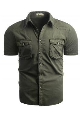 Bavlnená pánska košeľa kaki farby s krátkym rukávom
