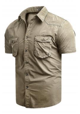 Béžová bavlnená košeľa s krátkym rukávom pre pánov