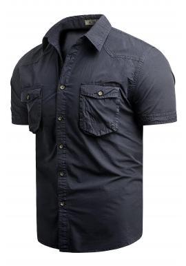 Pánske bavlnené košele s krátkym rukávom v tmavomodrej farbe