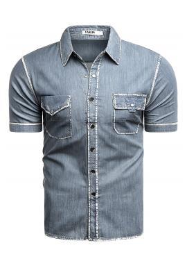 Rifľová pánska košeľa modrej farby s kontrastným vzorom