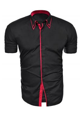 Čierno-červená košeľa s krátkym rukávom pre pánov