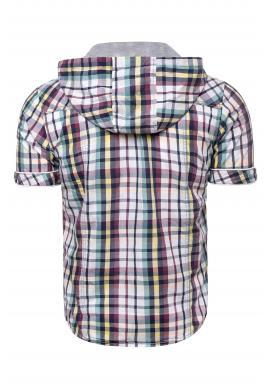 Pánska farebná kockovaná košeľa s kapucňou