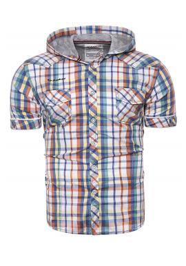 Farebná kockovaná košeľa s kapucňou pre pánov