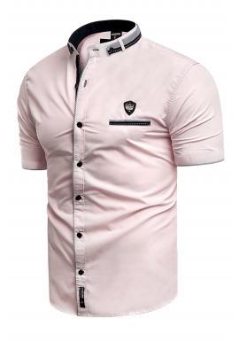 Pánska košeľa s krátkym rukávom v ružovej farbe