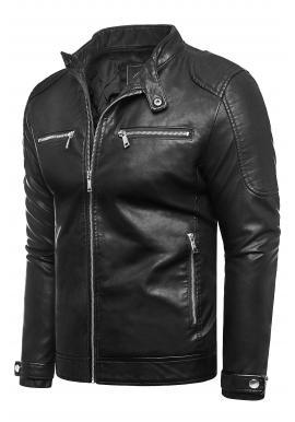 Kožená pánska bunda čiernej farby s prešívaním
