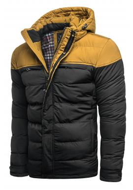Čierna zimná bunda s odopínacou kapucňou pre pánov