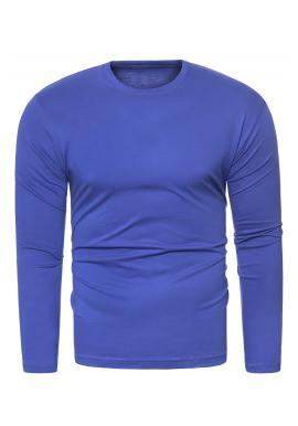 Pánske klasické tričko s dlhým rukávom v modrej farbe