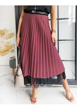 Bordová plisovaná sukňa s čipkou pre dámy