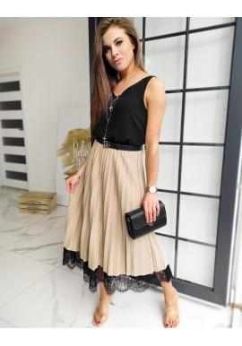 Plisované dámske sukne béžovej farby s čipkou