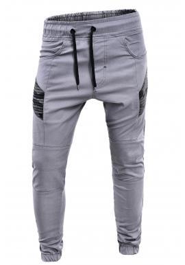Športové pánske nohavice sivej farby