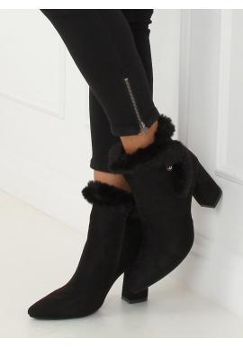 Čierne semišové čižmy na podpätku s kožušinou pre dámy