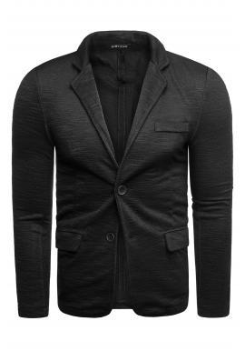 Čierne neformálne sako s gombíkmi pre pánov