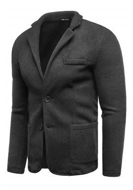 Neformálne pánske sako čiernej farby s gombíkmi