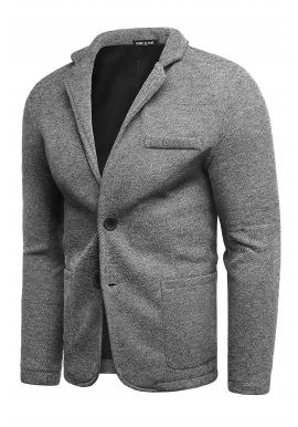 Pánske neformálne sako s gombíkmi v sivej farbe