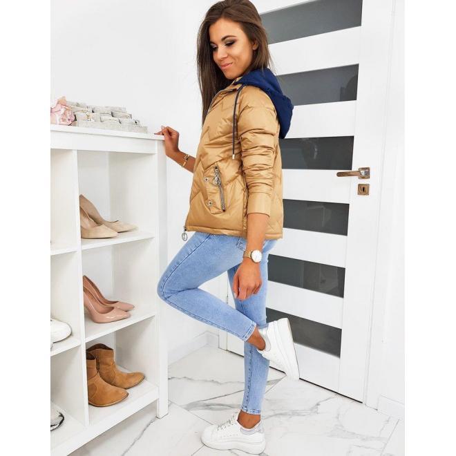 Prešívaná dámska bunda hnedej farby s modrou kapucňou