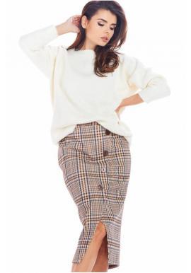 Hnedá károvaná sukňa s ozdobnými gombíkmi pre dámy