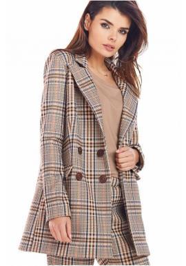 Dámske kárované sako s voľným strihom v hnedej farbe