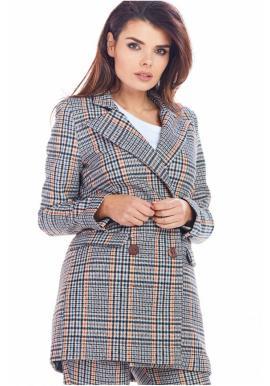 Tmavomodré kárované sako s voľným strihom pre dámy