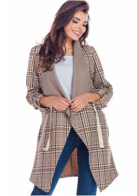 Elegantné dámske sako hnedej farby s károvaným vzorom