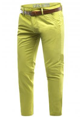 Bavlnené pánske chinos nohavice žltej farby