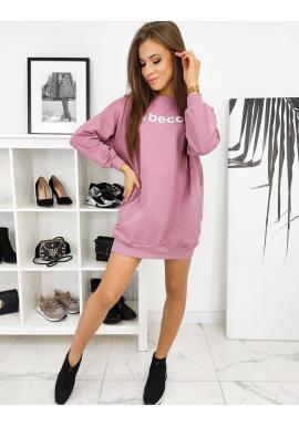 Dlhá dámska mikina ružovej farby s oversize strihom