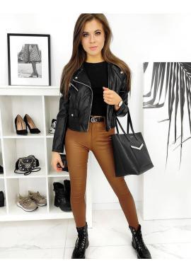 Hnedé voskované nohavice s vyšším pásom pre dámy