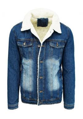 Modrá rifľová bunda s kožušinou pre pánov