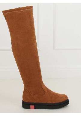 Hnedé semišové čižmy nad kolená s hrubou podrážkou pre dámy