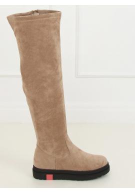 Semišové dámske čižmy nad kolená béžovej farby s hrubou podrážkou